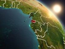 Guinea Ecuatorial del espacio durante salida del sol Foto de archivo