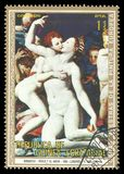 Venus, Cupid, Folly and Time by Bronzino. Guinea Equatorial - stamp 1973: Color edition on Art, shows Painting Venus, Cupid, Folly and Time by Bronzino Stock Illustration