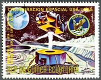 GUINEA EQUATORIALE - 1975: esposizioni Apollo 11 Immagini Stock Libere da Diritti
