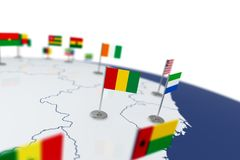 Guinea flag. Country flag with chrome flagpole on the world map with neighbors countries borders. 3d illustration rendering Royalty Free Stock Photos