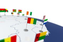 Guinea flag. Country flag with chrome flagpole on the world map with neighbors countries borders. 3d illustration rendering flag Stock Photography