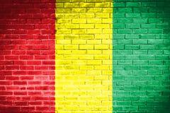 Guinea flagga, väggtexturbakgrund Arkivbilder