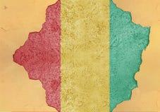 Guinea flaggaabstrakt begrepp i betong för agg för fasadstruktur stor skadad arkivbild