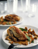 Guinea-fowl with chanterelles. Food, gastronomy,culinary,cookery Royalty Free Stock Photo