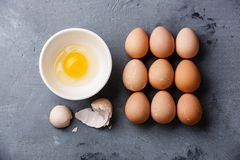 Guinea fowl eggs. On concrete background Stock Photo
