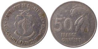 50-Guinea-Franc-Münze, 1994, Gesicht Stockbilder
