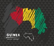 Guinea map with flag inside on the black background. Chalk sketch vector illustration. Vector sketch map of Guinea with flag, hand drawn chalk illustration vector illustration
