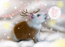 Guinea Pig outdoor in winter dressed as deer. Kids will go crazy over this vector illustration