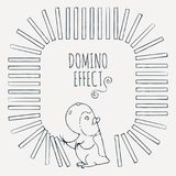 Guinea pig starts a chain of dominoes. Figured frame for children`s cards. Vector illustration Royalty Free Stock Photos