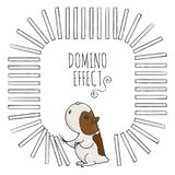 Guinea pig starts a chain of dominoes. Figured frame for children`s cards. Vector illustration Royalty Free Stock Photo