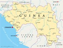 Guinea Political Map. With capital Conakry, national borders, important cities, rivers and lakes. English labeling and scaling. Illustration vector illustration
