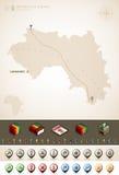 Guinea. Republic of Guinea and Africa maps, plus extra set of isometric icons & cartography symbols set (part of the World Maps Set Stock Image