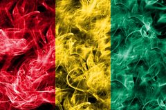 Guinea smoke flag isolated on a black background.  Stock Photos