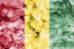 Guinea smoke flag isolated on a white background. Guinea smoke flag isolated on a white background Stock Photography