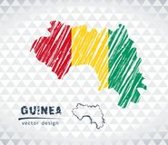 Guinea vector map with flag inside isolated on a white background. Sketch chalk hand drawn illustration. Vector sketch map of Guinea with flag, hand drawn chalk vector illustration