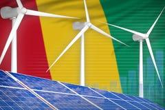 Guinea zonne en digitaal de grafiekconcept van de windenergie - milieu natuurlijke energie industriële illustratie 3D Illustratie stock illustratie