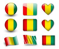 The Guinean flag. Set of icons and flags. glossy and matte on a white background Royalty Free Stock Photos