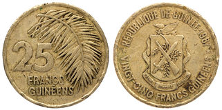 25 Guinean franc coin, 1987, both sides,. Isolated on white background royalty free stock photo