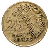 25 Guinees frankmuntstuk, 1987, omgekeerde Royalty-vrije Stock Afbeeldingen