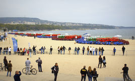 Guiness World Record set on Varna beach Bulgaria. 4,000 people break Guinness World Record for largest human DNA helix organized by the Medical University  along Royalty Free Stock Images