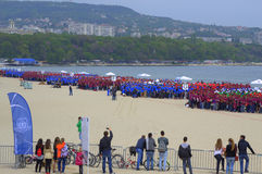Guiness World Record set on Varna beach Bulgaria. 4,000 people break Guinness World Record for largest human DNA helix organized by the Medical University  along Royalty Free Stock Photography