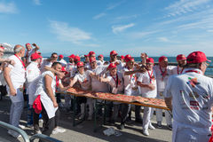 Guinnes World record pizza long 2 km Stock Images