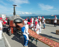 Guinnes World record pizza long 2 km Royalty Free Stock Images