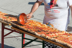Guinnes World record pizza long 2 km Stock Image