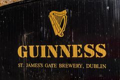 Guinness Brewery, Ireland. DUBLIN, IRELAND - JULY 12, 2016: Guinnes logo on the entrance gate to the  Brewery. Guinness is an Irish dry stout produced by Diageo Royalty Free Stock Image