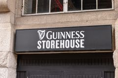Guinness Brewery, Ireland. DUBLIN, IRELAND - JULY 12, 2016: Guinness store house sign. Guinness is an Irish dry stout produced by Diageo originated in the Stock Photo