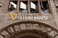 Guinness Brewery, Ireland. DUBLIN, IRELAND - JULY 12, 2016: Guinness storehouse sign. Guinness is an Irish dry stout produced by Diageo originated in the brewery Stock Photography