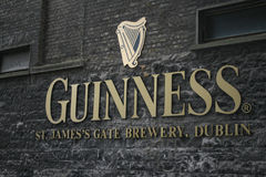 Guinness brewery logo in Dublin. Guinness sign, St. James Gate Brewery. Dublin, Ireland. The historic building of the world famous beer brand Stock Photo