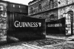 Guinness Gates B&W. A black and white view of the Guinness brewery gates in Dublin Ireland stock photo