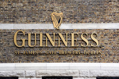 Guinness logo on its Storehouse in Dublin. Royalty Free Stock Image