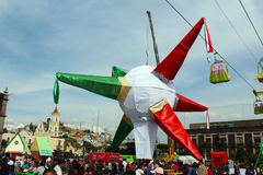 Guinness record world biggest pinata. The most big pinata made in the world with seven points that represents the seven capital sins in mexico Stock Image