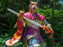 Zodiac Sign: Tiger Statue. Paper lantern of astrological sign in a buddhist temple in South Korea. Guinsa, Danyang Region, South. Guinsa Temple, located below royalty free stock image