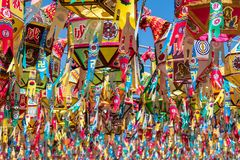 Close up view on many of beautiful paper lanterns for festival to celebrate the birthday of Buddha in South Korea. Guinsa Temple, stock photography