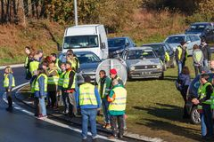 Guipavas, France - November 24, 2018 : Demonstrators called yellow vests royalty free stock photo