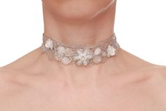 Guipure necklace is on woman stock image