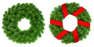 Guirlande à feuilles persistantes de décoration de Noël avec le ruban rouge photographie stock libre de droits