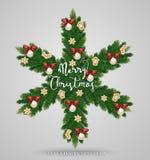 Guirlande à feuilles persistantes de Noël sous la forme de flocon de neige Image libre de droits