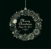 Guirlande accrochante d'or décorative de Noël de vintage Image libre de droits