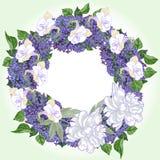 Guirlande avec deux pivoines et lilas blancs Photographie stock libre de droits