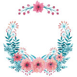 Guirlande avec l'aquarelle Emerald Leaves, les fleurs roses et les baies Image libre de droits