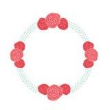 Guirlande avec l'icône décorative de roses Photo libre de droits