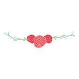 Guirlande avec l'icône décorative de roses illustration stock