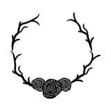 Guirlande avec l'icône décorative de roses Image stock