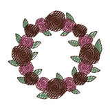 Guirlande avec l'icône décorative de roses Image libre de droits