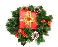 Guirlande avec le cadre de cadeau Image stock