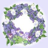Guirlande avec le lilas et les pensées Photos libres de droits
